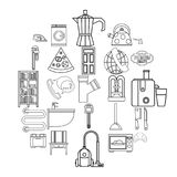 Rooming house icons set, outline style. Rooming house icons set. Outline set of 25 rooming house vector icons for web isolated on white background Stock Photo