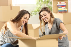 Roommates moving home Royalty Free Stock Images