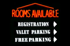 Rooms Available Neon Sign Stock Photos