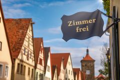 Free Rooms Available Sign At A Guesthouse Or Hotel On Romantic Road Bavaria Germany Stock Image - 160651901