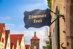 Free Rooms Available Sign At A Guesthouse Or Hotel On Romantic Road Bavaria Germany Royalty Free Stock Photography - 161799117