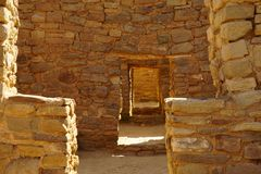 Rooms at the Aztec Ruins National Monument. A picture of the rooms and the walls of the Aztec ruins NM Royalty Free Stock Image