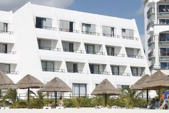Rooms of Hotel towards the beach of Cancun stock photo