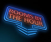 Rooms by the hour concept. 3d Illustration depicting an illuminated neon sign with a rooms by the hour concept Stock Photography