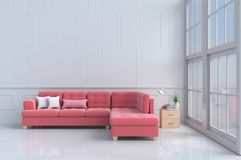 Rooms of Love on Valentine`s Day. Red - pink sofa in white living room decor with tree,pillows, Wood bede table, Window, White wall&floor. Rooms of Love on royalty free stock image