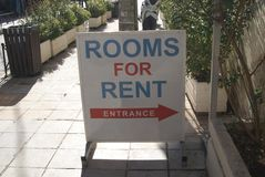 Rooms for rent sign. entrance sign Stock Images