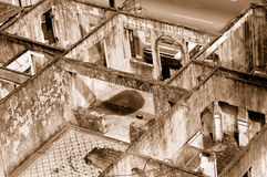 Rooms in ruined building. Rooms in a ruined building. Sepia tone royalty free stock images