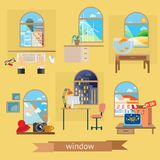 Rooms and windows illustrations Royalty Free Stock Images