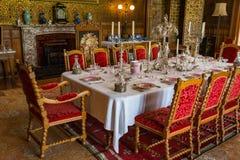 RoomV de Dinning en la casa victoriana de Charlecote Imagen de archivo