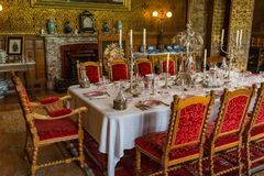 RoomV de Dinning en la casa victoriana de Charlecote Foto de archivo libre de regalías