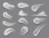 Roomvlekken Realistisch wit kosmetisch gel, romige tandpastavlekken op transparante achtergrond Vectorskincarelotion stock illustratie