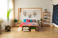 Apartment with ethnic bedroom Royalty Free Stock Photos