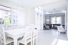 Roomy interior of dinning room and living room Royalty Free Stock Photo