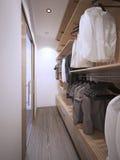 Roomy walk-in closet modern style Royalty Free Stock Photos