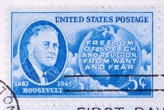 Roosevelt 1945. This is a Postage Stamp Roosevelt 1945 Royalty Free Stock Photos