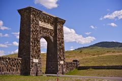 Roosevelt Arch. Horizontal Photography - The  is the North Entrance to Yellowstone National Park in Gardiner, Montana, U.S.A Stock Image