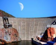 Roosevelt Dam and Moon Stock Photos
