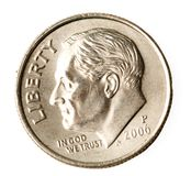 Roosevelt on a dime. Portait of President Roosevelt on American dime or ten cent coin Royalty Free Stock Images