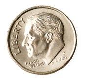 Roosevelt en una moneda de diez centavos Imágenes de archivo libres de regalías