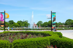 Roosevelt Fountain Brookfield Zoo. BROOKFIELD, ILLINOIS - MAY 27, 2017: Roosevelt Fountain at the Brookfield Zoo. The foreground shows banners for the Dinos stock photos