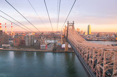 Roosevelt Island cable car at sunset Royalty Free Stock Image