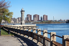 Roosevelt island lighthouse. In autumn morning, New York City stock photo