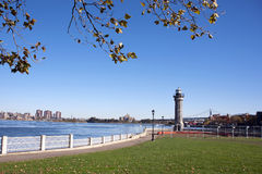 Roosevelt Island Lighthouse, New York City. Autumn morning at Roosevelt Island Lighthouse, New York City stock image