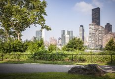 Roosevelt Island park with NYC in background. Beautiful Roosevelt Island park with Manhattan, New York City in background during sunny summer day stock photography