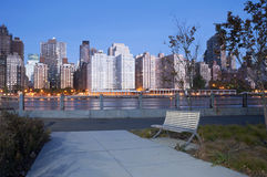 Roosevelt Island River Walk New York City. Roosevelt Island River Walk and Manhattan Skyline, early morning, New York City Royalty Free Stock Photos