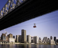 Roosevelt Island Tram, New York City. A tram from the Roosevelt Island Aerial Tramway, which crosses the East River of New York City, is seen together with a Stock Photography