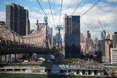 Roosevelt Island Tramway. And Ed Koch Queensboro bridge Stock Images