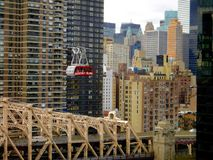 Roosevelt Island Tramway, New York, USA. The Roosevelt Island Tramway is an aerial tramway in New York City that spans the East River and connects Roosevelt Stock Image