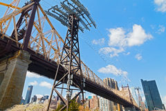 Roosevelt Island Tramway and Queensboro Bridge bearings. Royalty Free Stock Images