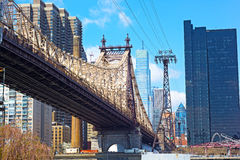 Roosevelt Island Tramway and Queensboro Bridge. Royalty Free Stock Images