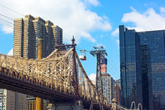 Roosevelt Island Tramway and Queensboro Bridge. Royalty Free Stock Photo