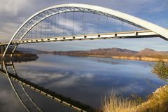Roosevelt Lake Bridge at end of Apache Trail in Arizona Superstition Mountains Stock Image