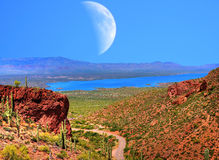Roosevelt Lake and Moon Stock Image