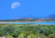 Roosevelt Lake and Moon Royalty Free Stock Image