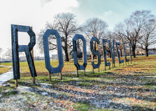Roosevelt Park Sign Detroit. A large landmark sign at  the front of Roosevelt park in Detroit, Michigan on a cold winter day Royalty Free Stock Images