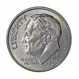 Roosevelt sulla moneta da dieci centesimi di dollaro Fotografia Stock