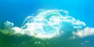 Rooskleurige toekomst voor wolk gegevensverwerking stock fotografie