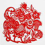Rooster. This paper-cut shows the rooster, is one of the Chinese Zodiac Stock Image