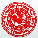 Rooster. This is a picture of the Chinese paper cutting. Paper-cutting is one of the traditional Chinese arts and crafts Royalty Free Stock Photos