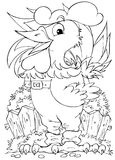 Rooster. Black-and-white illustration (coloring page): funny rooster Royalty Free Stock Photography