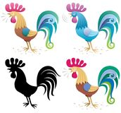 Rooster. Illustration of a rooster in 4 versions: Main version (built with basic linear gradients), a blue version, a silhouette and simplified versions with Stock Photography