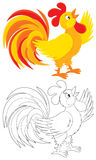 Rooster. Red and yellow cock crowing, color and black-and-white outline illustrations on a white background Royalty Free Stock Image