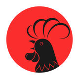 Rooster against the background of the sun. Head of the cock against the background of the sun. Rooster vector emblem for a poultry factory, for a chicken store Stock Photography