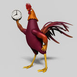 Rooster with alarm clock Stock Photos