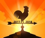 New Year 2018 - End of Year 2017. Rooster Animal sign of year 2017 of weather vane shows direction from year 2017 to the New Year 2018 royalty free illustration