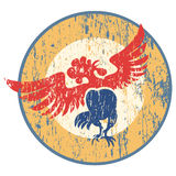 Rooster. Antique shabby logo with dancing cock Royalty Free Stock Image